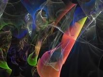 Fractal digital abstracto, diseño etéreo de la decoración del efecto luminoso del caos de la energía del estilo futurista dinámic libre illustration