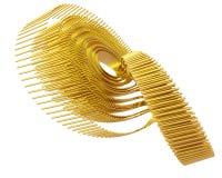 Fractal dourado Attractor quatro de Lorenz da arte ótica Imagens de Stock