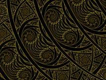 Fractal dourado da chama do nautilus do dobro do vitral ilustração do vetor