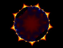 Fractal eclipse. Simulation image of a solar eclipse with fractal procedure vector illustration
