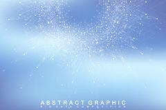 Fractal element with connected lines and dots. Big data complex. Virtual background communication or particle compounds Royalty Free Stock Image