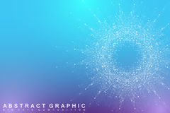 Fractal element with connected lines and dots. Big data complex. Virtual background communication or particle compounds Stock Photos