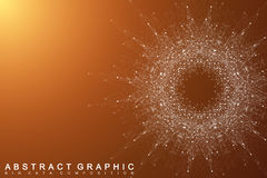 Fractal element with connected lines and dots. Big data complex.  Stock Photography