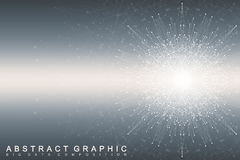 Fractal element with connected lines and dots. Big data complex. Virtual background  Royalty Free Stock Photo