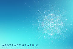 Fractal element with connected lines and dots. Big data complex. Virtual background communication or particle compounds Royalty Free Stock Photography