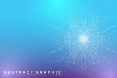 Fractal element with connected lines and dots. Big data complex. Virtual background communication or particle compounds Stock Image