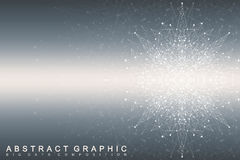 Fractal element with connected lines and dots. Big data complex. Virtual background communication or particle compounds Royalty Free Stock Photos