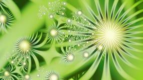 Fractal flora Samenstelling: Gouden ballen op een groene achtergrond stock illustratie