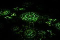 Fractal floral tridimensional no preto ilustração stock