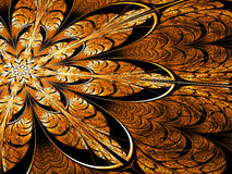 Fractal flower - abstract digitally generated image. Fractal flower - abstract computer-generated image. Digital art: ornate golden petals like mosaic or stained Royalty Free Stock Images