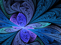 Fractal flower background or floral pattern. Abstract fractal flower background or floral pattern in blue and violet colours. Digital artwork for creative Stock Photo