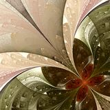 Fractal flower in beige, brown and green. Royalty Free Stock Image