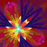 Fractal flower in blue, gold and purple. Stock Photography
