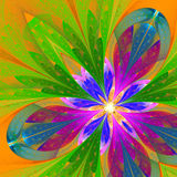Fractal flower in green, purple and blue. Royalty Free Stock Image