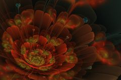 Fractal flower with hearts, circles and blurs Stock Photo