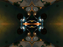 Fractal fyra gör den abstrakta geometriska composition--3dtolkningen Arkivbilder