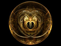 Fractal Golden Heart Sphere. Swirl Pattern Royalty Free Stock Photo