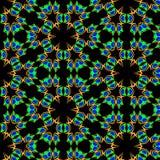Fractal green pattern vector petals. Vector pattern fractal green delicate petals with a blue heart on a black background stock illustration