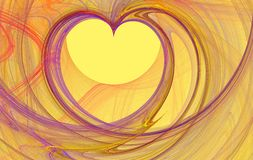 Fractal heart. Purple fractal rendered heart shape over yellow royalty free illustration