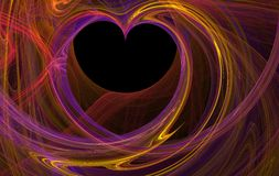 Fractal heart. Purple fractal rendered heart shape over black stock illustration