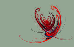Fractal heart on a gray. Red abstract fractal heart Valentine light background royalty free illustration