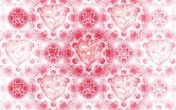 Fractal hearts pattern. Light and bright valentine`s day design Stock Illustration