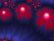 Fractal image with flowers. For your text. Red and blue color. Fractal image, beautiful template for inserting text. In color red and blue, Background with Stock Illustration