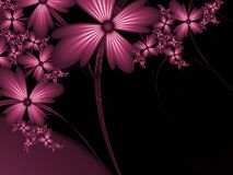 Fractal image with flowers. For your text. Red color. Fractal image,beautiful template for inserting text in purple color. Background with flower Floral Vector Illustration