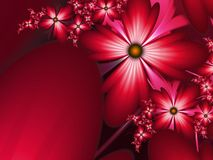Fantasy floral image, backgroung for inserting text. Flower background for inserting text. Red fractal picture. Fractal image,beautiful template for inserting Stock Image
