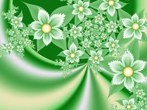 Fantasy floral image, backgroung for inserting text. Flower background for inserting text. Green fractal picture. Fractal image, digital artwork for creative Royalty Free Stock Photography