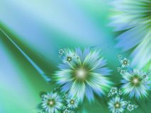 Fantasy floral image, backgroung for inserting text. Green and blue. Fractal image, digital artwork for creative graphic design, template for inserting text Stock Image