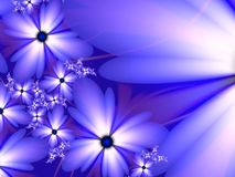 Fractal image with flowers. For your text. Blue color. Fractal image, beautiful template for inserting text, in color purple. Background with flower. Floral vector illustration