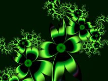 Fractal image with flowers. For your text. Green color. royalty free illustration