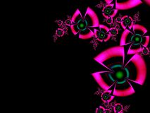 Fractal image with flowers. For your text. Pink and black  color. Floral original template with place for text Royalty Free Illustration