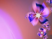 Fractal image with flowers. For your text. Red, purple and blue color. Grafic design for business cards. Fractal image_ template for inserting text.nFractal Stock Photos