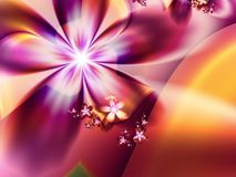 Fractal image with flowers. For your text. Red and yellow. Fractal image,beautiful template for inserting text in red, yellow and pink color. Background with Royalty Free Illustration