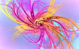 Fractal image: glowing colored stripes and lines. stock image
