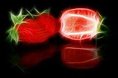 Fractal image of sliced strawberries with a reflection royalty free stock photo
