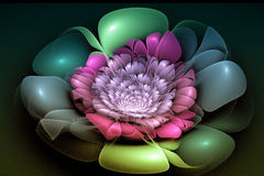 Fractal image is: virtual flowers. Stock Photo