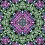 Psychedelic fractal kaleidoscope design on spheres and flowers made in green and violet colors on dark background Stock Photos