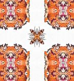 Fractal Kaleidoscope Peachy. A kaleidoscope is an optical instrument with two or more reflecting surfaces inclined to each other in an angle, so that one or more Royalty Free Stock Photos