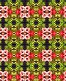 Fractal Kaleidoscope Ranunculus green red black vector illustration