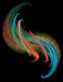 Fractal kleurrijke fractal op zwarte achtergrond Royalty-vrije Stock Afbeeldingen