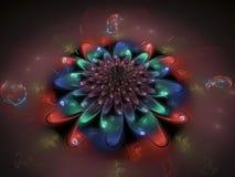 fractal kwiatu fantazi abstrakcjonistycznego pięknego ciemnego tapetowego okwitnięcia unikalny dynamiczny Obrazy Stock