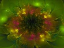Fractal kwiatu koloru fantazi skutka abstrakcjonistycznego pięknego wymarzonego ciemnego tapetowego okwitnięcia unikalny dynamicz Obraz Royalty Free