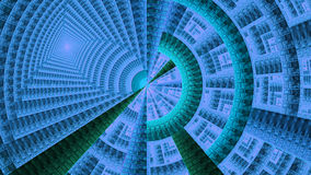 Fractal mechanical wheel decorated with various ornamental geometrical shapes, all in shining blue,cyan,green Royalty Free Stock Image