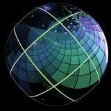 Fractal met een planeet-als gebied met zijn die oppervlakte in vierkanten wordt behandeld stock illustratie