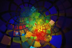 Fractal with multicolored glowing tiles on curving out Royalty Free Stock Images