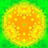 Fractal ornamental object. Yellow fractal ornamental object on green background stock illustration