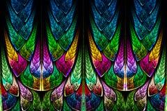Fractal patroon in gebrandschilderd glasstijl. stock illustratie
